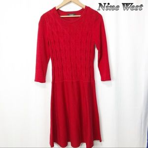 Nine West Red sweater Fit n Flare Dress S